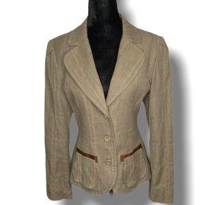 Tristan & Iseut Olive Brown Tweed Blazer Size Med